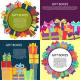 Sistema de cuatro fondos con las cajas de un regalo coloridas Fotos de archivo libres de regalías