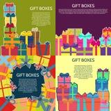 Sistema de cuatro fondos con las cajas de un regalo coloridas Foto de archivo libre de regalías