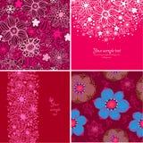 Sistema de cuatro fondos felices del día de tarjetas del día de San Valentín. Fotografía de archivo libre de regalías