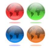 Sistema de globos de la tierra en cuatro colores Fotos de archivo libres de regalías