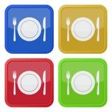 Sistema de cuatro iconos cuadrados - cubiertos y placa Imagen de archivo libre de regalías
