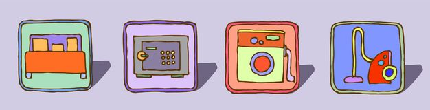 Sistema de cuatro iconos a mano, bosquejo retro del vector del color stock de ilustración