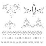 Sistema de cuatro ilustraciones florales con las fronteras a juego del árbol Foto de archivo