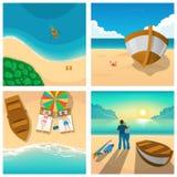 Sistema de cuatro imágenes con los pares que se relajan en la playa soleada Turismo, barco, ejemplo del vector del verano Imagen de archivo