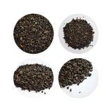 Sistema de cuatro imágenes del té verde en círculos Imagen de archivo
