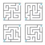 Sistema de cuatro laberintos del vector Fotos de archivo libres de regalías