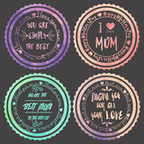 Sistema de cuatro logotipos para el día de la madre Fotos de archivo