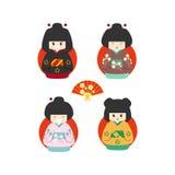 Sistema de cuatro muñecas japonesas lindas del kokeshi stock de ilustración
