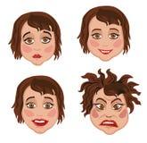 Sistema de cuatro mujeres de las expresiones faciales Imagenes de archivo