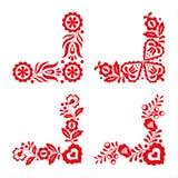 Sistema de cuatro ornamentos populares tradicionales, bordado rojo Fotos de archivo libres de regalías