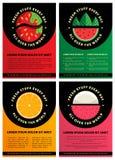 Sistema de cuatro plantillas del folleto del diseño gráfico con las frutas frescas Fotos de archivo