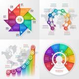 Sistema de cuatro plantillas infographic del vector Fotos de archivo