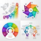 Sistema de cuatro plantillas infographic del vector Foto de archivo