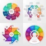 Sistema de cuatro plantillas infographic del vector 8 opciones Fotografía de archivo
