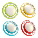 Sistema de cuatro plantillas redondas del botón del círculo del copyspace Imagen de archivo