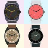 Sistema de cuatro relojes Cara de reloj con hora, minuto y las segundas manos libre illustration