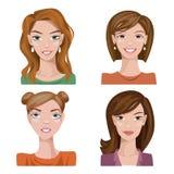 Sistema de cuatro retratos Caracteres femeninos Fotografía de archivo