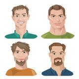 Sistema de cuatro retratos Caracteres masculinos Fotos de archivo libres de regalías
