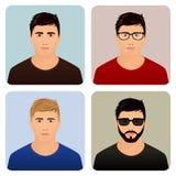 Sistema de cuatro retratos de un hombre joven ilustración del vector