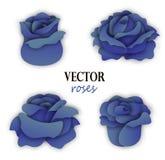 Sistema de cuatro rosas azules de papel stock de ilustración