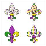 Sistema de cuatro símbolos multicolores brillantes de Mardi Gras ilustración del vector