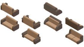 Sistema de cuatro sofás isométrico Foto de archivo