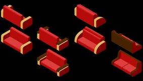 Sistema de cuatro sofás isométrico Imágenes de archivo libres de regalías