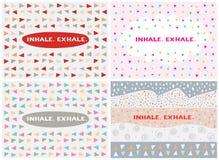 Sistema de cuatro tarjetas, plantillas del vector inhale exhale Foto de archivo libre de regalías
