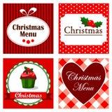 Sistema de cuatro tarjetas retras lindas de la invitación de la Navidad, menú de la cena para el restaurante, ejemplos del vectr.  stock de ilustración