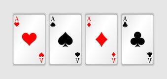 Sistema de cuatro trajes de los naipes de los as Mano de póker que gana El sistema de corazones, las espadas, los clubs y los dia Imagen de archivo libre de regalías