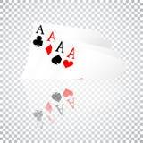 Sistema de cuatro trajes de los naipes de los as Mano de póker que gana El sistema de corazones, las espadas, los clubs y los dia Fotografía de archivo