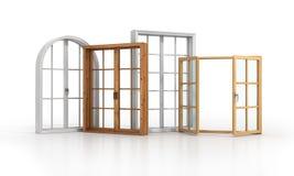 Sistema de cuatro ventanas en el piso blanco Fotografía de archivo libre de regalías