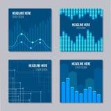 Sistema de 4 cubiertas creativas con los elementos infographic stock de ilustración