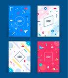 Sistema de cubiertas neas del estilo de Memphis Colección de cubiertas brillantes frescas El extracto forma las composiciones Vec stock de ilustración