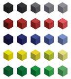 Sistema de cubos del brignt 3d con combinaciones de color armónicas ilustración del vector