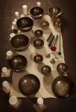 Sistema de cuencos del canto del tibetano Foto de archivo