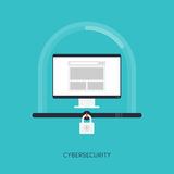 Sistema de Cybersecurity, conceito da proteção do Internet Fotos de Stock Royalty Free