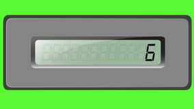 Sistema de dígitos en la calculadora de la multiplicación en un fondo verde metrajes