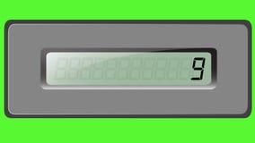 Sistema de dígitos en la calculadora de la multiplicación en un fondo verde ilustración del vector