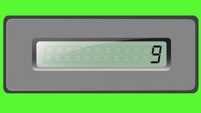 Sistema de dígitos en la calculadora de la multiplicación en un fondo verde almacen de metraje de vídeo