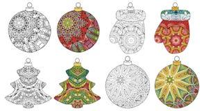 Sistema de decoraciones estilizadas de la Navidad del zentangle Ejemplo dibujado mano del vector del cordón Bolas para colorear y stock de ilustración