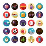 Sistema de deporte, de aptitud y de sano planos del diseño Fotos de archivo libres de regalías