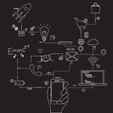 Sistema de desarrollo de aplicaciones, de codificación del sitio web, de información y de technologie móvil Fotografía de archivo libre de regalías