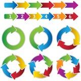 Sistema de diagramas vibrantes del círculo y de flechas de la carta Foto de archivo