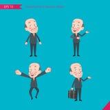 Sistema de dibujar el estilo de carácter plano, actividades del CEO del concepto del negocio - hombre de negocios, investigación, Foto de archivo libre de regalías