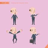 Sistema de dibujar el estilo de carácter plano, actividades del CEO del concepto del negocio - hombre de negocios, investigación, Fotografía de archivo