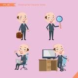 Sistema de dibujar el estilo de carácter plano, actividades del CEO del concepto del negocio - hombre de negocios, investigación, Imagenes de archivo