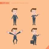 Sistema de dibujar el estilo de carácter plano, actividades hermosas del oficinista del concepto del negocio - hombre de negocios Foto de archivo