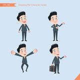 Sistema de dibujar el estilo de carácter plano, actividades hermosas del oficinista del concepto del negocio - hombre de negocios Imagen de archivo libre de regalías
