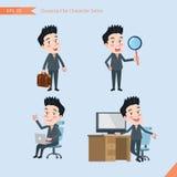 Sistema de dibujar el estilo de carácter plano, actividades hermosas del oficinista del concepto del negocio - hombre de negocios Foto de archivo libre de regalías